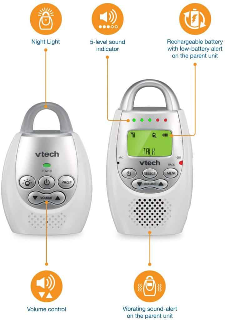 Features Of both units of the VTech DM221 audio baby monitor.
